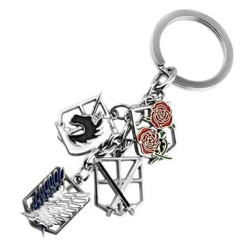 Cool Attack on Titan Anime keychain  badge pendant necklace key chain holder cover charms for motorcycle car keys AT_90_11