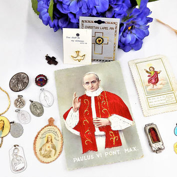 Vintage Lot of Religious Items, Christian Icons, Charms, Pope Postcard, Saints, Symbols, Vintage Religion