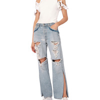 Jonathan Simkhai Distressed Beaded Jeans - INTERMIX®