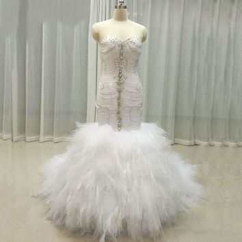 Shinning Mermaid Wedding Dresses Crystal top with feather bottom wedding gowns