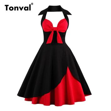 Tonval Women Sexy Halter Vintage Dresses 50s 60s Pin Up Red Black Summer Dress Retro Elegant Audrey Hepburn Style Dresses