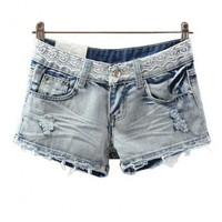 Lace Denim Shorts with Raw Cuffs