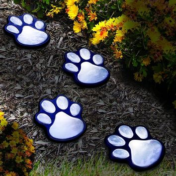 "NICE 4 solar dog animal paw print Lights garden lantern LED path 3"" light lamp"