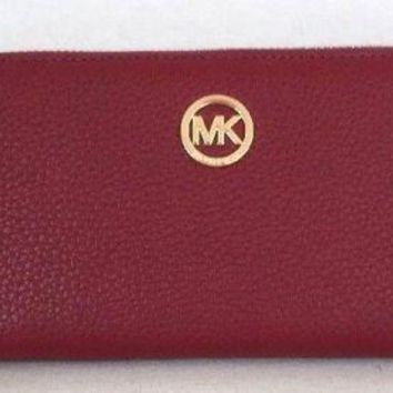 NWT Michael Kors Fulton Large Flat MF phone case Leather wristlet Cherry