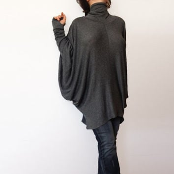 Oversize Dark Grey Loose Casual Top / Asymmetric Raglan Long Sleeves Tunic Knit Top / Maxi Blouse Turtle neck Tunic
