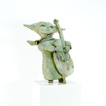 Sculpture with Violoncello in green and gold - dreamy, surreal sculpture with scarf - yoda like