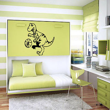 DINOSAUR BASKETBALL BABY ROOM NURSERY  WALL VINYL STICKER  DECAL ART MURAL G226