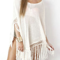 White Knitted Tassels Poncho Cover Up Blouse