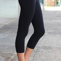 Cropped Yoga Leggings {Grey/Black}