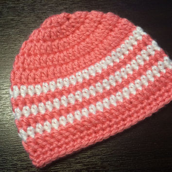 Crochet Beanie Hat for Preemie less than 3 lbs - Striped Beanie Hat - Pink Memento