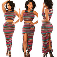 Striped Sleeveless Bodycon Cropped Top Maxi Slit Skirt Set