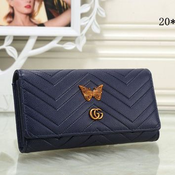 Gucci Popular Women Metal Letter Butterfly Leather Purse Wallet(8-Color) Blue I-MYJSY-BB