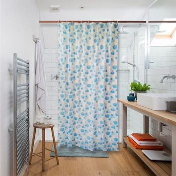 Shower Curtain Liner Mildew Resistant Waterproof Bathroom Curtains 84 X 54 inches with 8 Hooks Free Blue Rose Print