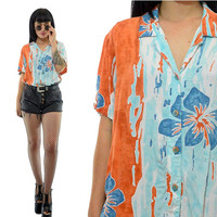 vintage 90s Hawaiian shirt floral pastel print soft grunge blouse top cute 1990s slouchy oversized tropical shirt orange teal blue small