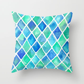 Hand Painted Cobalt Blue & Emerald Green Watercolor Pattern Throw Pillow by micklyn | Society6