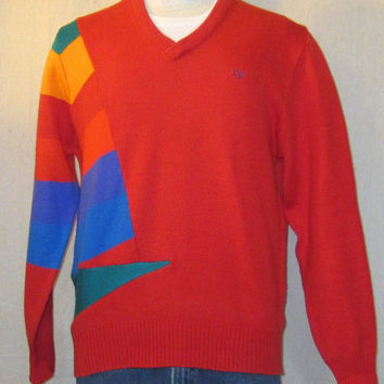 Vintage Epic 80s OCEAN PACIFIC SKI Rainbow Striped Winter Surf Men Medium Acrylic V-Neck Sweater