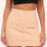 Moderm Femme Blush Denim Mini Skirt