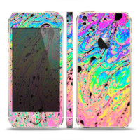 The Neon Color Fushion with Black splatters Skin For The iPhone 5C