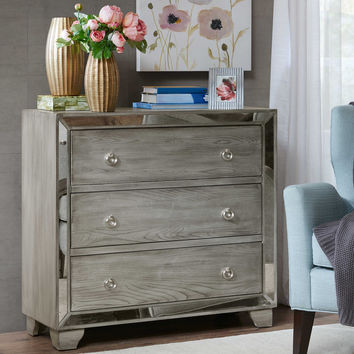 Madison Park Garner 3-Drawer Mirrored Chest in Reclaimed Grey