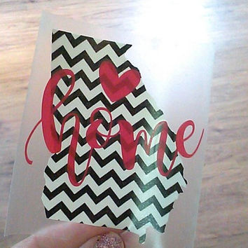 Georgia Decal, Cup Decal, Stripe State, Sticker for Car, Name decal