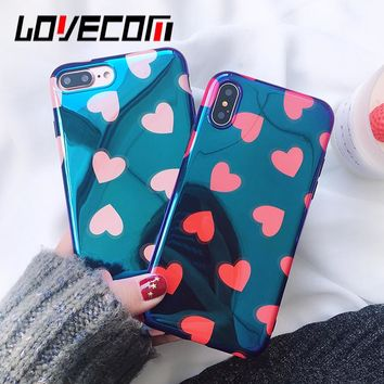 LOVECOM Blu-Ray Phone Case For iPhone 6 6S 7 8 Plus X Cool Pink & Red Heart Soft IMD Phone Back Cover Cases Full Protector