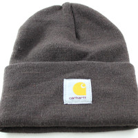 Carhartt USA Basic Cuff Ribbed Men's/Women's Dark Brown Winter Beanie Hat