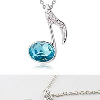 Elegant Rhinestone Music Note Crystal Pendant Necklace from shopgirl8