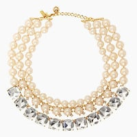Kate Spade Shaken And Stirred Triple Strand Necklace Cream/Clear Multi