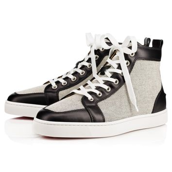Best Online Sale Christian Louboutin Cl Rantus Men's Flat Black/black Cotton 10s Shoes 1140184cm53