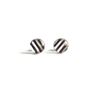Striped Stud Earrings, Black and White Stud Earrings, Small Stud Earrings, Striped Earrings, Sensitive Ears, Simple Cute Everyday Jewelry