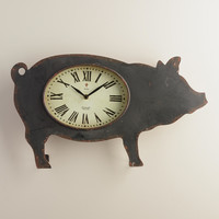 Black Metal Pig Clock - World Market