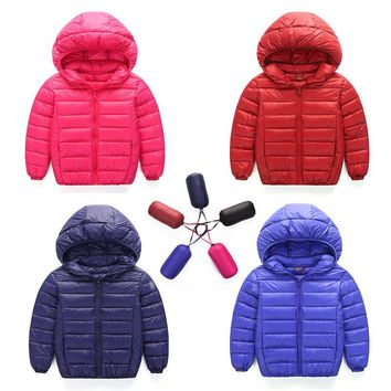 2018 New Baby Boy and Girl Thick Warm Down Jackets Kids Fashion Hooded Down Coat Outerwear Children's Clothes 7 Colors Hot Sale