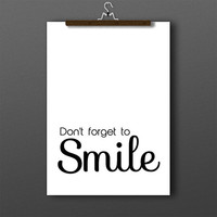 Smile typography, inspirational quote, smile print, motivational quotes, smile poster, quote poster print, typographic print, smile wall art