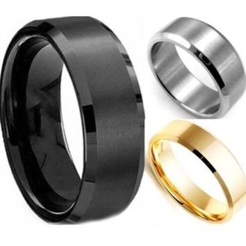 ONETOW Hot Stainless Steel Ring Band Titanium Silver Black Gold Men Size 8 to 11 Wedding