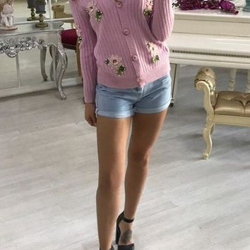 Pink Patchwork Embroidery Appliques Single Breasted V-neck Long Sleeve Sweaters Cardigan