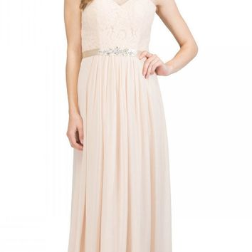 Starbox USA L6145 Lace Sweetheart Neckline Champagne Chiffon A-Line Bridesmaids Gown Strapless