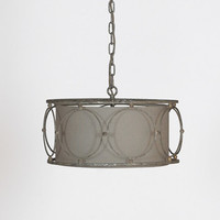 Linen and Metal Circle Chandelier