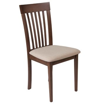 Wellington Walnut Finish Wood Dining Chair with Rail Back and Fabric Seat