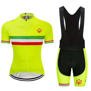 2018 Fluorescent yellow champion Cycling Jersey 9D GEL Pad Bike Shorts MTB Men's Cycling Clothing summer bike wear maillot