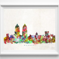 Mumbai Skyline, Print, India Print, Indian Wall Art, Watercolor Art, City Poster, Cityscape, Home Decor, Christmas Gift