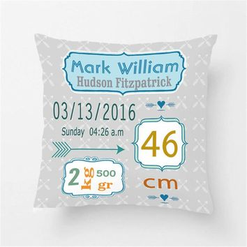 Custom Birth Data Baby Boy Throw Pillow Case Decorative Cushion Cover Pillowcase For Kids Cute Birthday Gift For New Born Baby