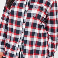 Missguided - Curve Red Checked Studded Pocket Shirt