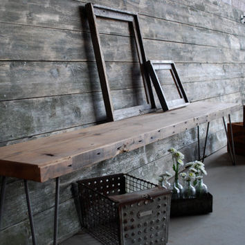 Reclaimed wood Industrial bench (4 ft)with mid century steel hairpin legs (free and fast shipping)