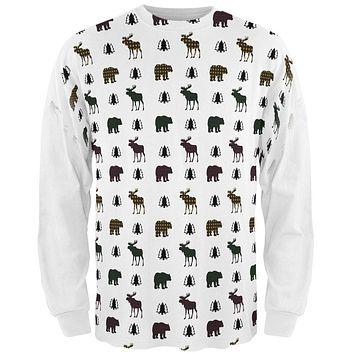 Autumn Plaid Bear and Moose Pattern All Over Mens Long Sleeve T Shirt
