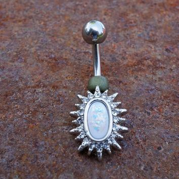 White Opal Sunburst Belly Button Ring