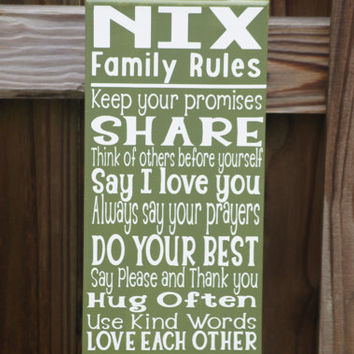 Family Rules Canvas, 7x14 Digitally Printed Home Decor