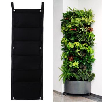 New 6 Pockets Black Hanging Vertical Wall Garden Planter Flower Planting Bags Pot Home Indoor Outdoor Balcony Gardening Seeding