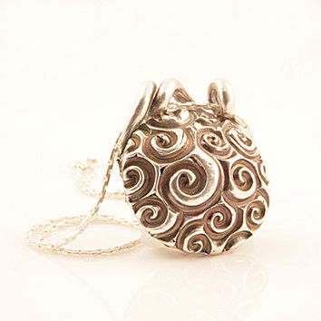 Spiral & Threads Two Sided Pure Silver Pendant