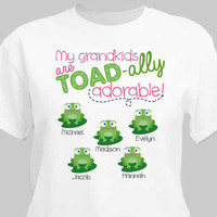 Personalized My Grandkids toadally Adore me White T-shirt