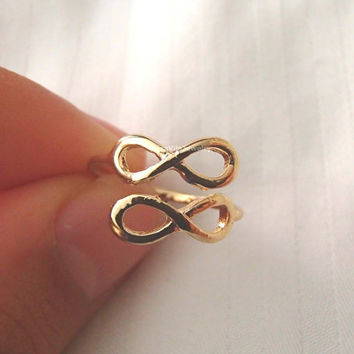 Adjustable Infinity rings - Silver and Gold, adjustable size;minimalist knuckle rings, midi ring, double infinity, dainty, cute, simple ring
